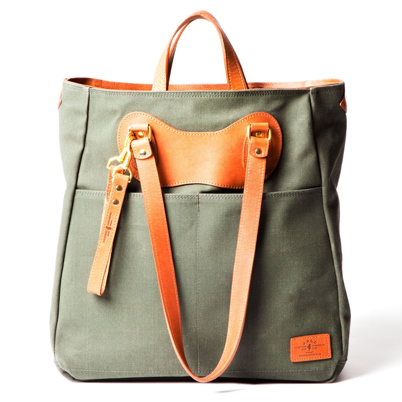 c71c66e0a7f RucTote in olive canvas with tan leather trim