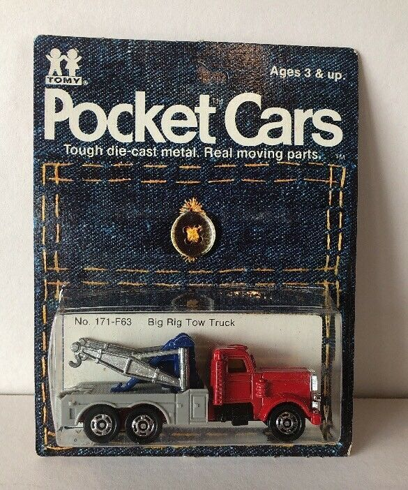 Vintage 1974 Tomica Big Rig Tow Truck Pocket Cars Mint Package Tomy
