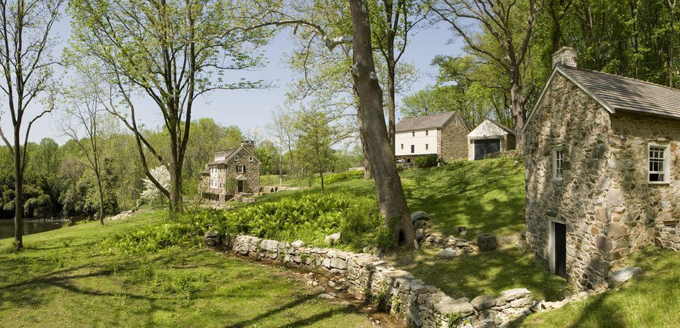 Old Stone Wall Landscape Rustic With Spring House Wooden Chickadee Birdhouses Rustic Landscaping Stone Wall Old Stone