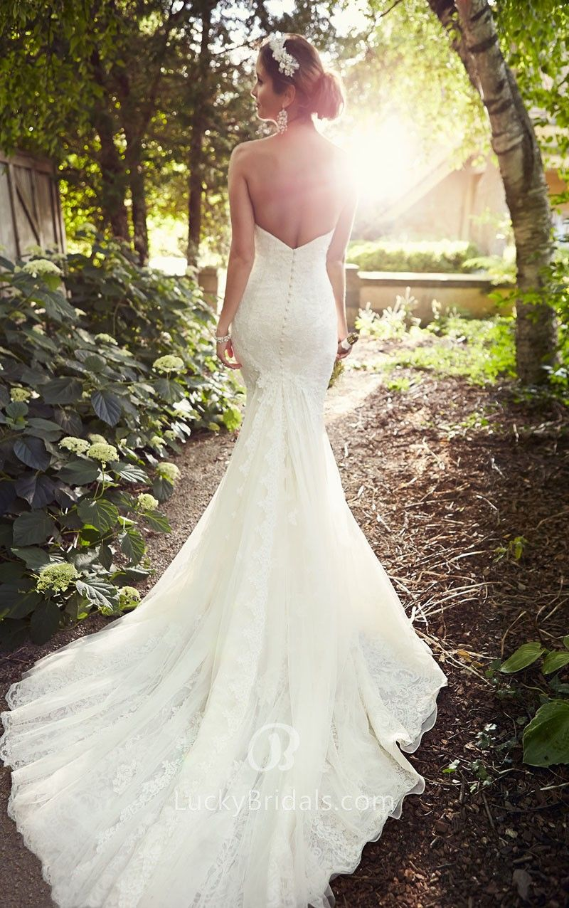 Best wedding dresses for big busts  Open Back Delicate Lace Cathedral Train Strapless Sweetheart Mermaid