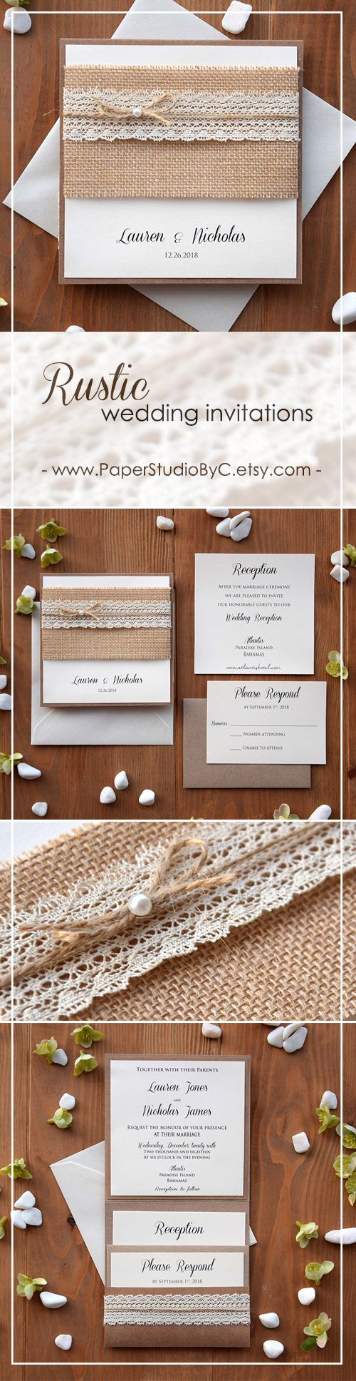 Burlap and Lace Wedding Invitations | Pocket invitation, Invitation ...