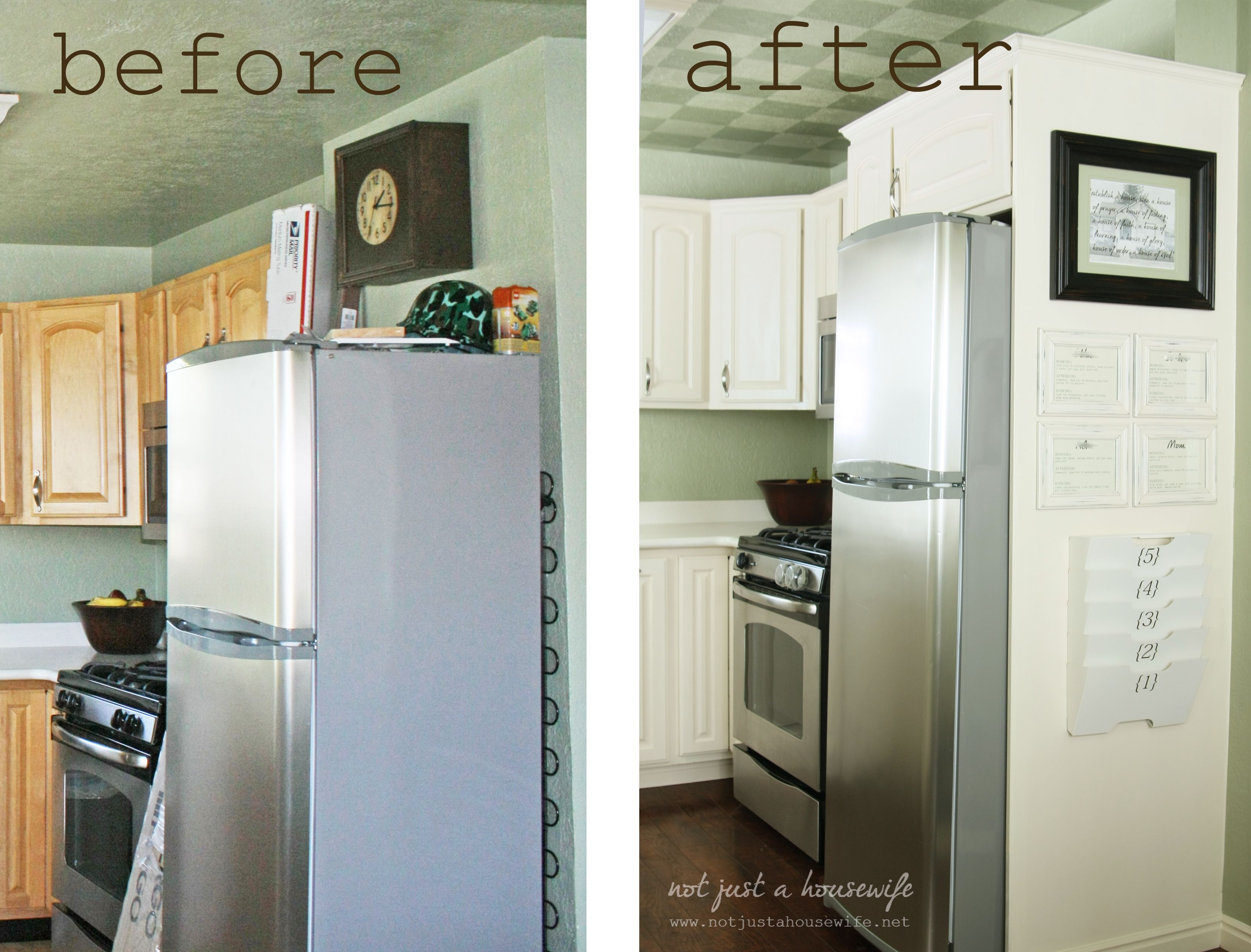 side-of-fridge command center. She added a plywood wall. I also like the  small crown molding at the top of the cabinets.