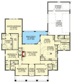 Plan 56385SM: 4 Bed Acadian House Plan with Bonus Room | Acadian ...