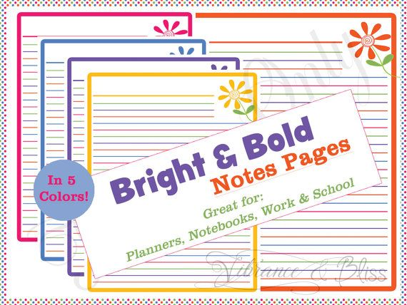 Printable Notes Page Set Bright and Bold PDF by VibranceAndBliss - notebook paper download