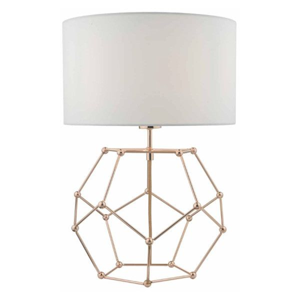 Coen table lamp in copper with white cotton shade 850 cny liked the nucleus table lamp features geometric hexagonal copper wire work topped off with a white cotton shade greentooth Choice Image