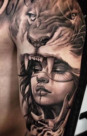 Amazing Girl And Lion Tattoo Tatuajes De Pierna Pinterest