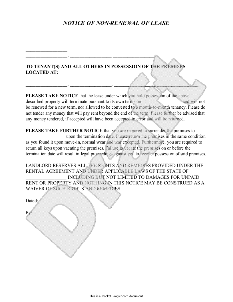 Landlord's Notice of Non-Renewal of Lease to Tenants (with Sample ...