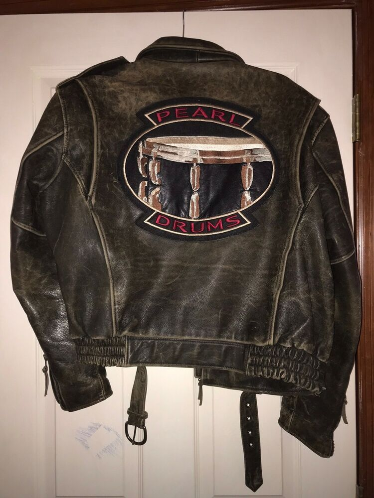 4d3961d1 Rare VINTAGE Leather Bomber Jacket Pearl Drums By Pearl Imagewear Mens size  L #VFImagewear #Bomber