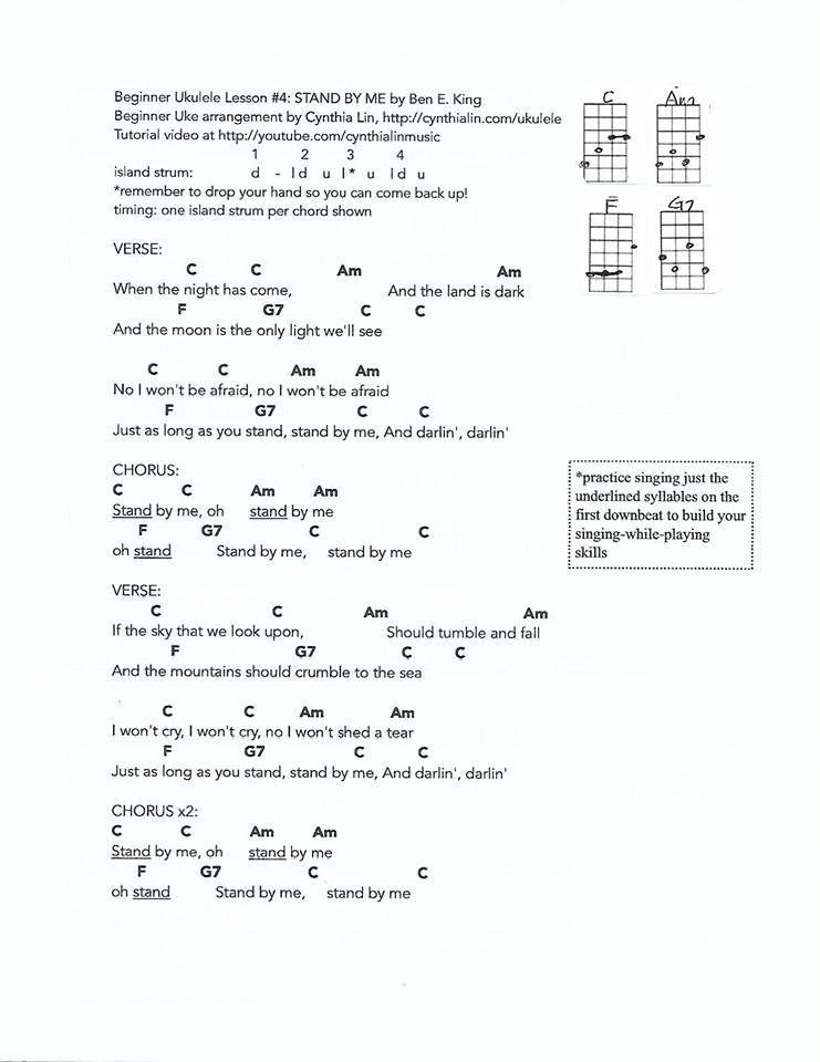 Stand By Me Ukulele Chords Songs Ukulele Songs Easy Guitar Songs