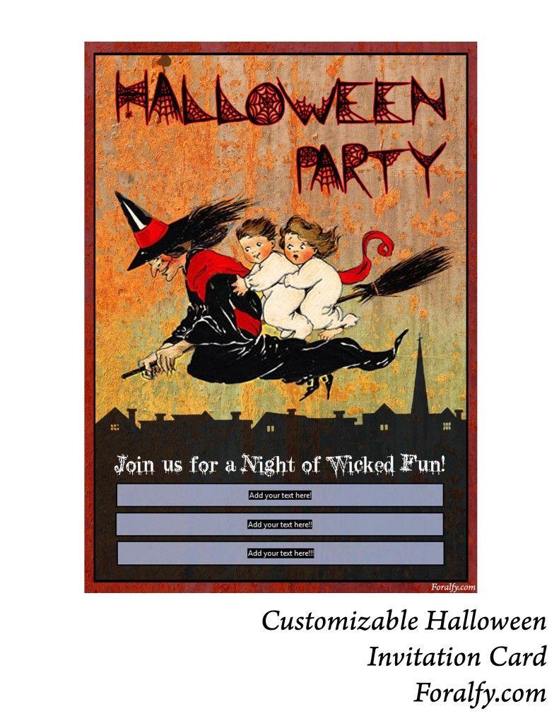 Free Printable Halloween Customizable Party Invitation Card ...