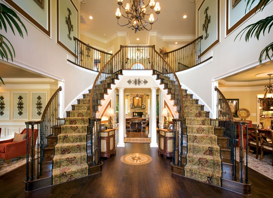 Double staircase foyer house plans twin stairs for House plans with stairs in foyer