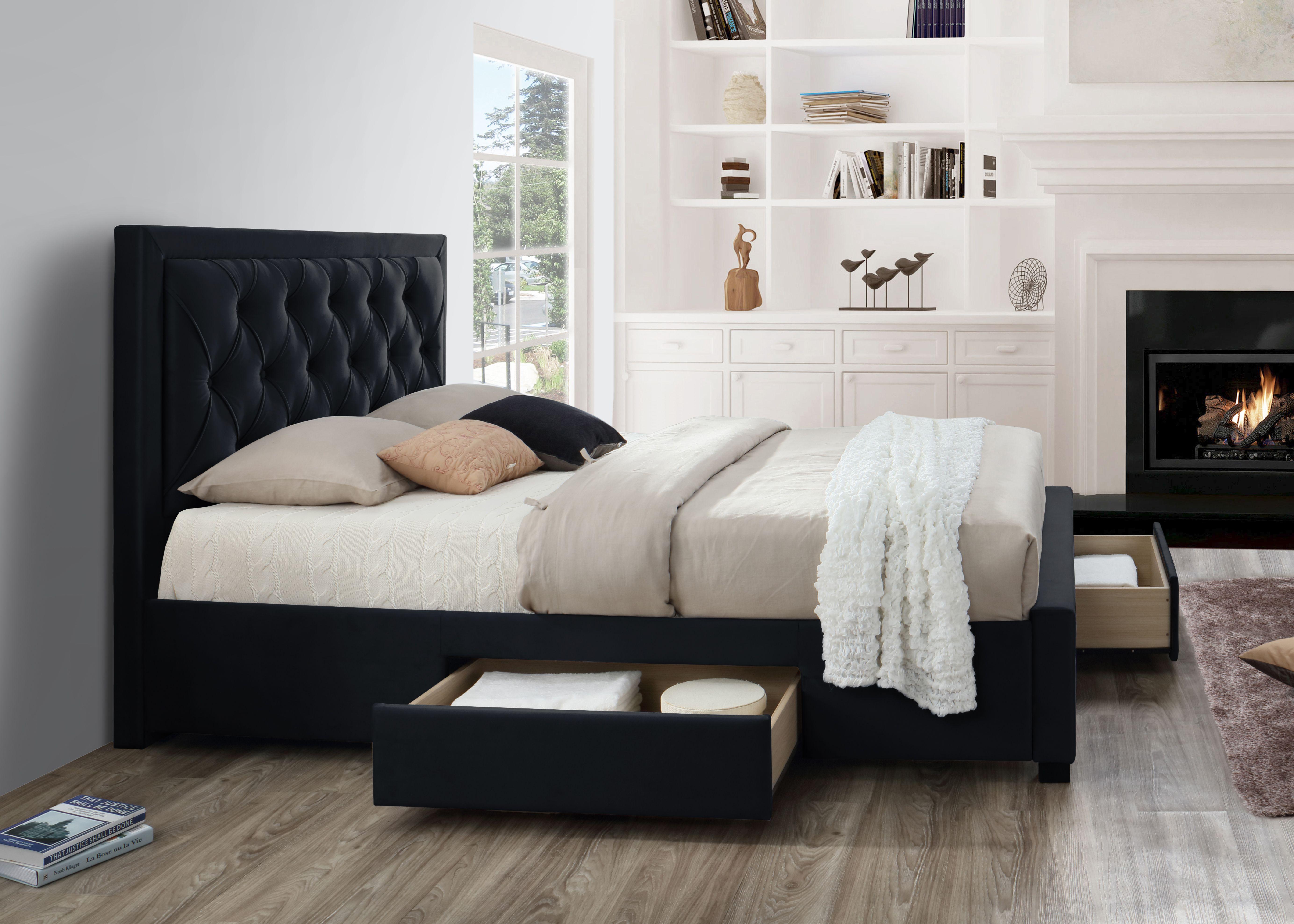 Best Woodbury Black Velvet Fabric 4 Drawer Storage Bed Bed 400 x 300