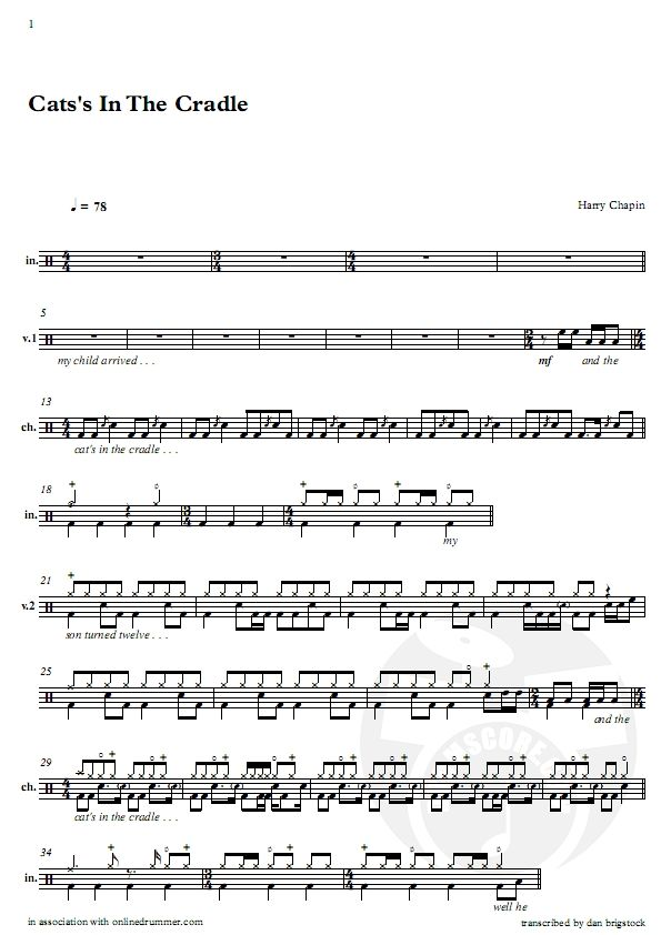 Harry Chapin Cats In The Cradle Pagenumber 001 Schlagzeug Noten Schlagzeug Noten