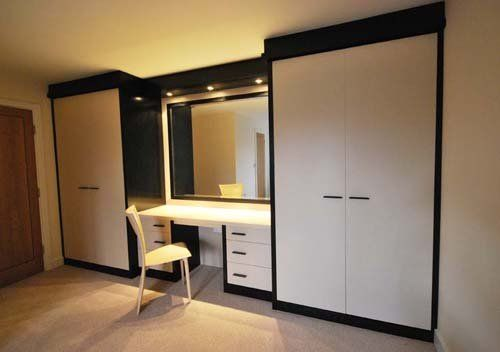 White High Gloss Fitted Wardrobes With Dressing Table