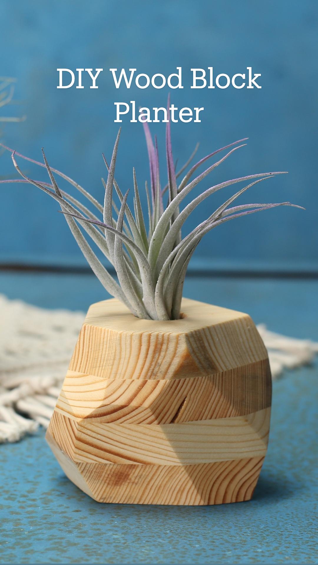 DIY Wood Block Planter