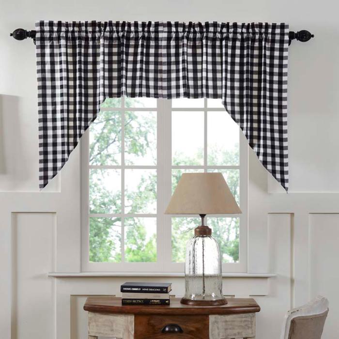 Annie Buffalo Check Black Swag Curtains Swag curtains