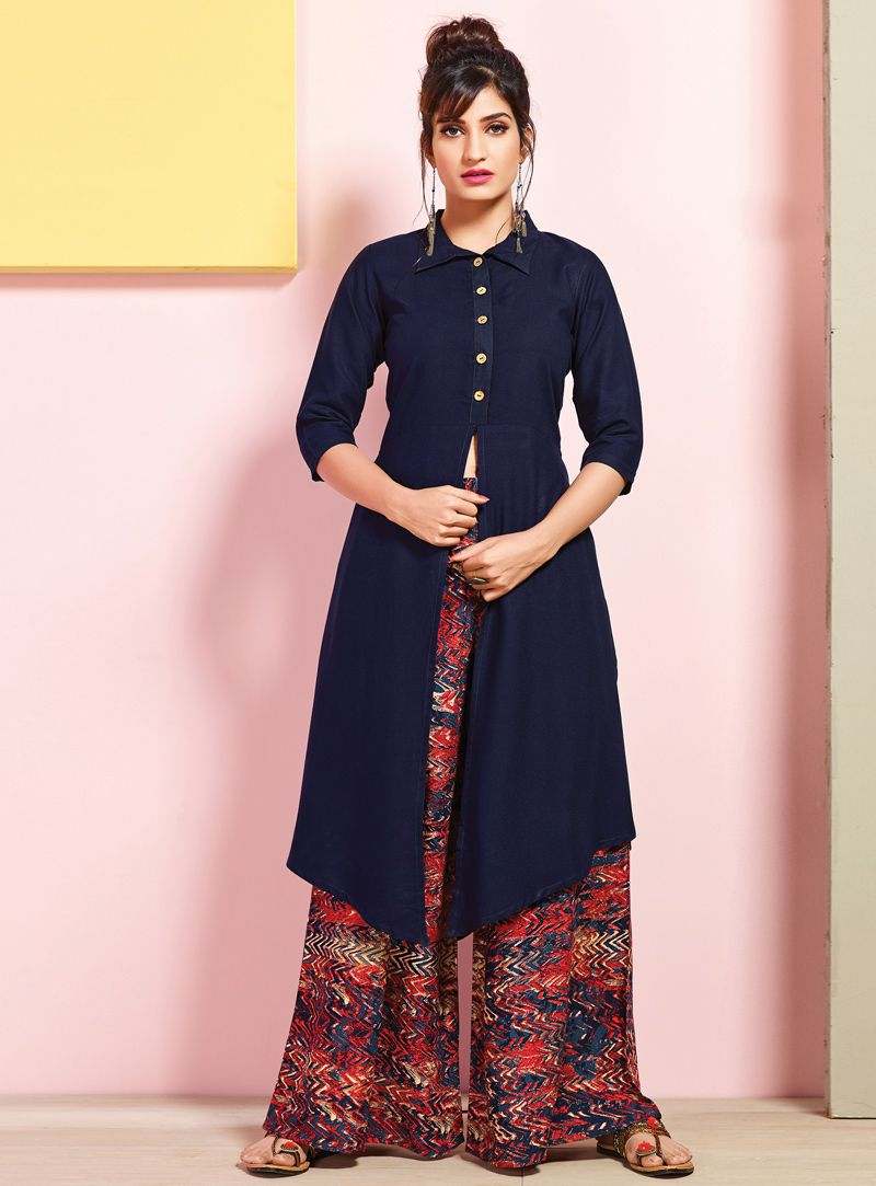 b1acc6e2e6 Buy Navy Blue Rayon Readymade Kurti With Palazzo 126076 online at lowest  price from our mens indo western collection at m.indianclothstore.c.