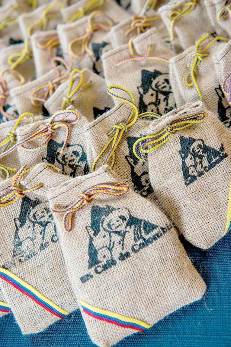 Wedding Guest Favors.Each Wedding Guest Received A Small Bag Of Colombian Coffee Beans An