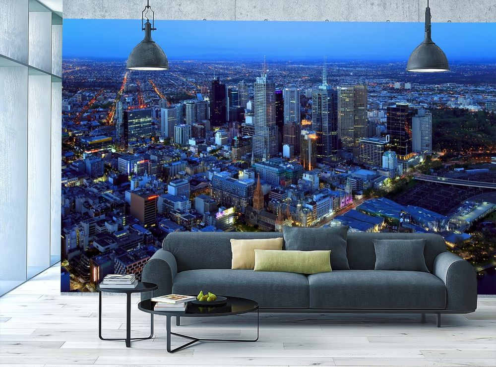 Skyline Photo Wallpaper Mural Melbourne View From Sky City