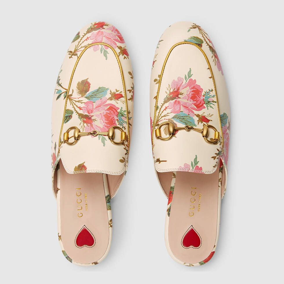 4KEQQy1ULN Princetown rose print slippers