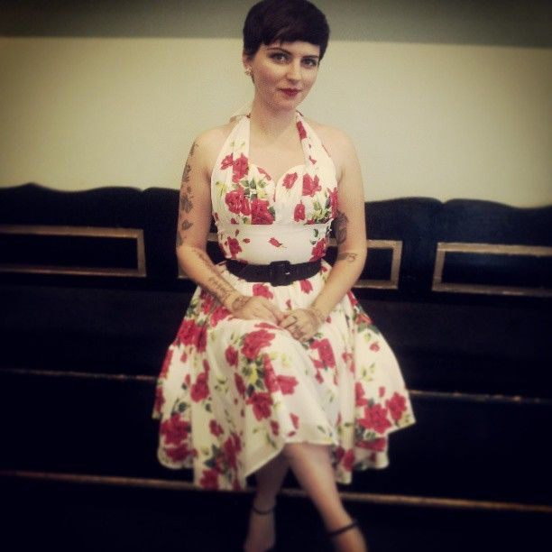 Trashy Diva Natasha is looking fabulous in the Varga dress in Red Roses.