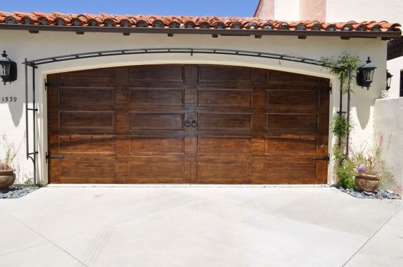Garage Door Rehab Wanted My Cheap Metal Garage Door To Look More Like Wooden Carriage Doors Stained Added A Garage Doors House Exterior Painted Front Doors