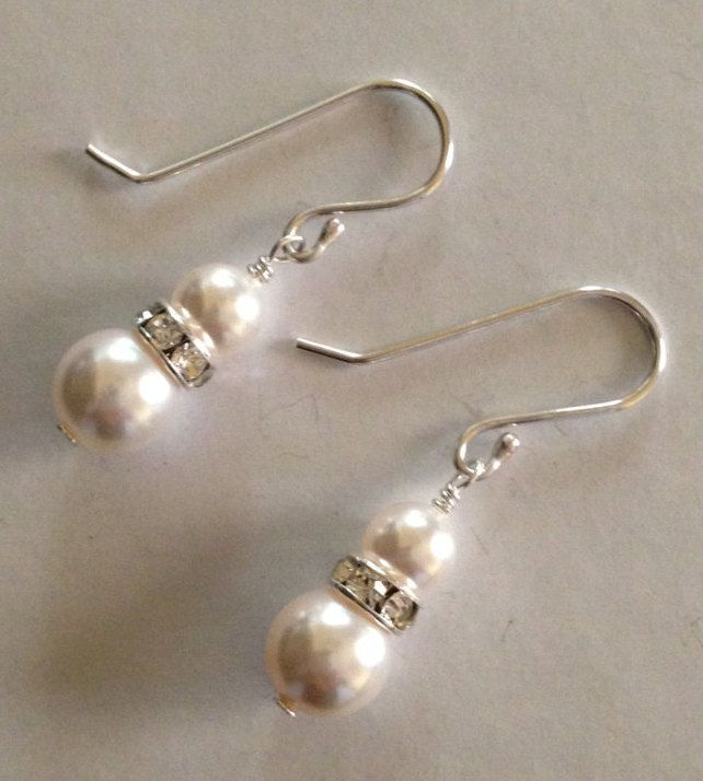 Swarovski Pearl earrings, sterling silver earrings, pearl earrings, drop earrings, dangle earrings, bridal jewelry, gifts for her, fashion by SilverByMaggie on Etsy