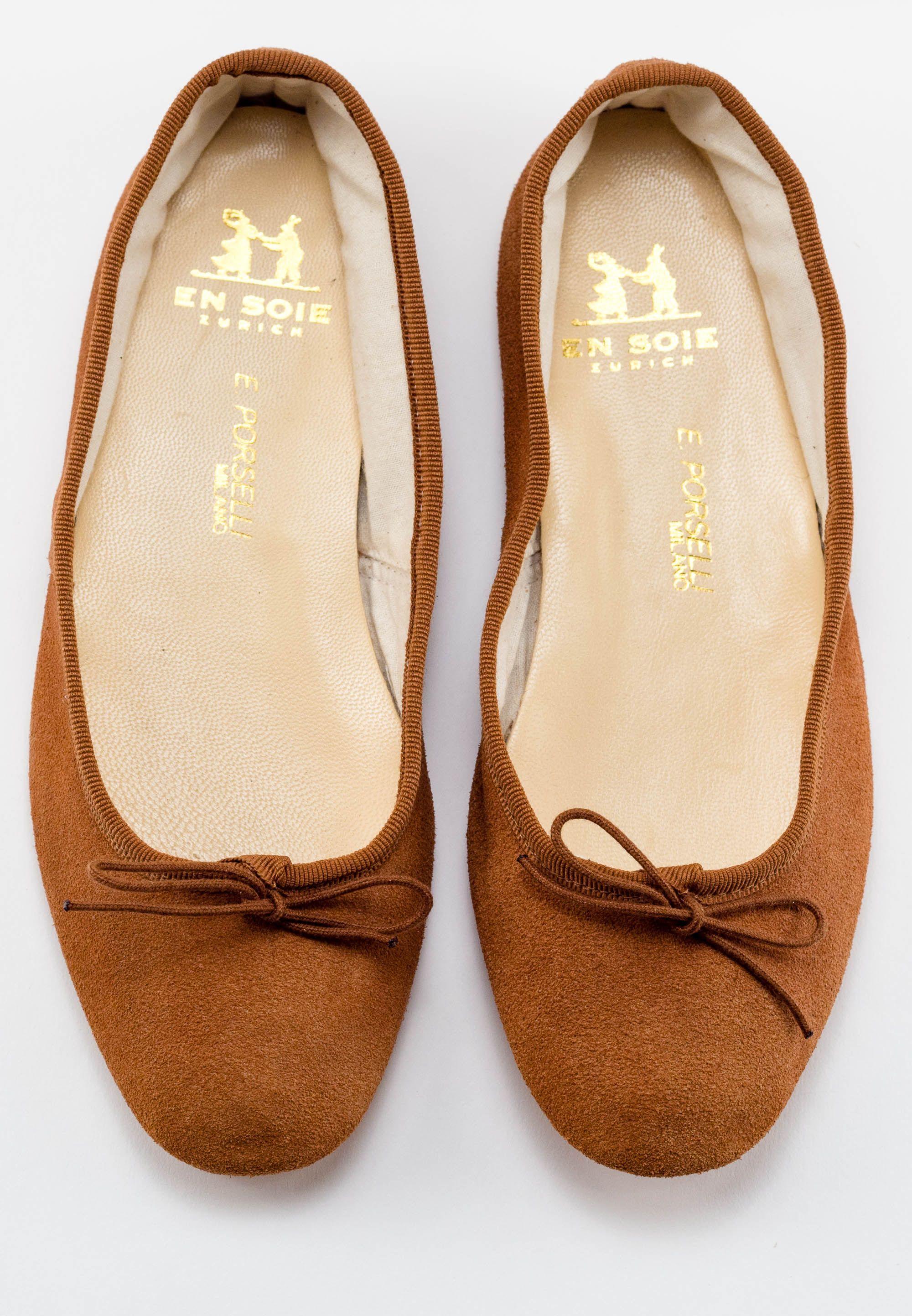 bd5bab53e93f Suede Brown Porselli Ballet Flats -