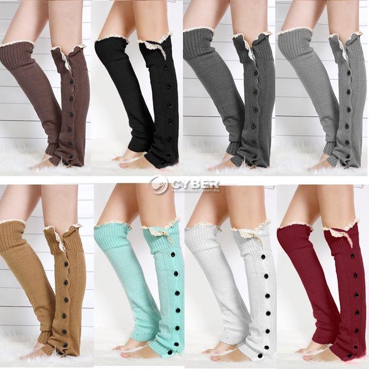 New Women Xmas Knit Long Boot  Knee High Thigh High Leg Warmer Socks Tights