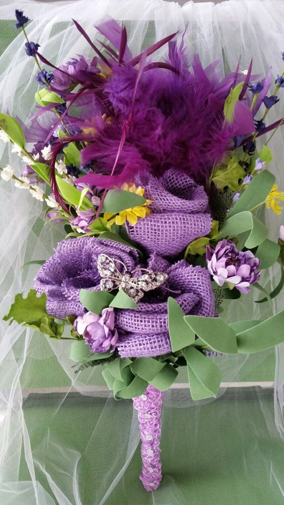 Check out this item in my Etsy shop https://www.etsy.com/listing/227543662/handmade-burlap-wedding-bouquet-purple