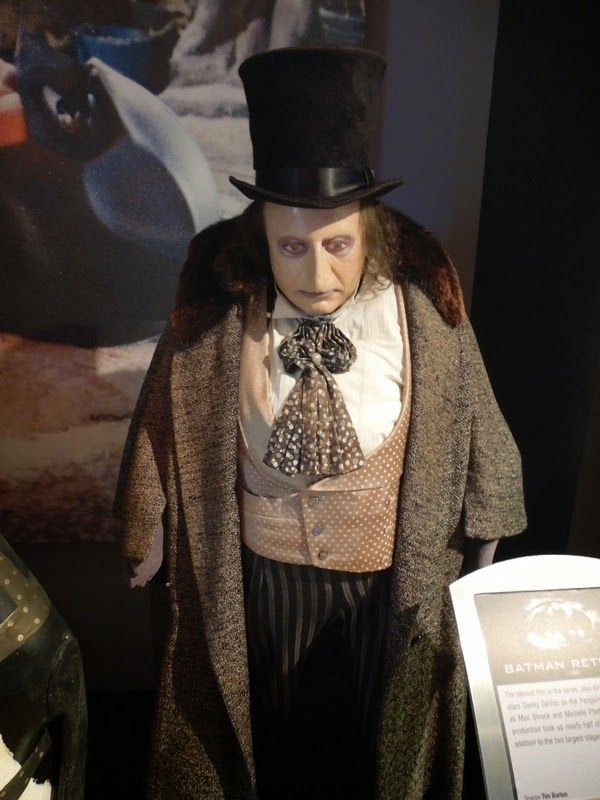 The Penguin Costume Worn By Danny Devito And Props From Batman Returns On Display Penguin Costume Penguin Costume Batman Batman Returns