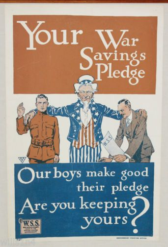 USA WWI-Poster-Your-War-Savings-Pledge-War-Savings-Stamps-Uncle-Sam  JUL16