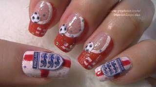 World Cup England Nail Art Tutorial Fifa Mundial Inglaterra Arte