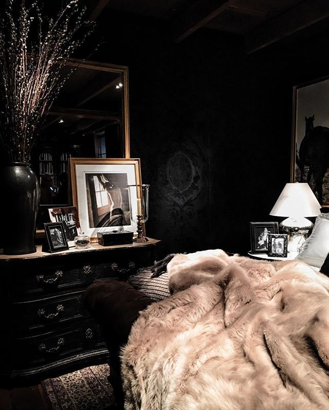 A Dark Cozy Moody Masculine Bedroom Lots Of Wood Dark: And Every Home Needs A Dark Luxe Room. Tempted To Paint My