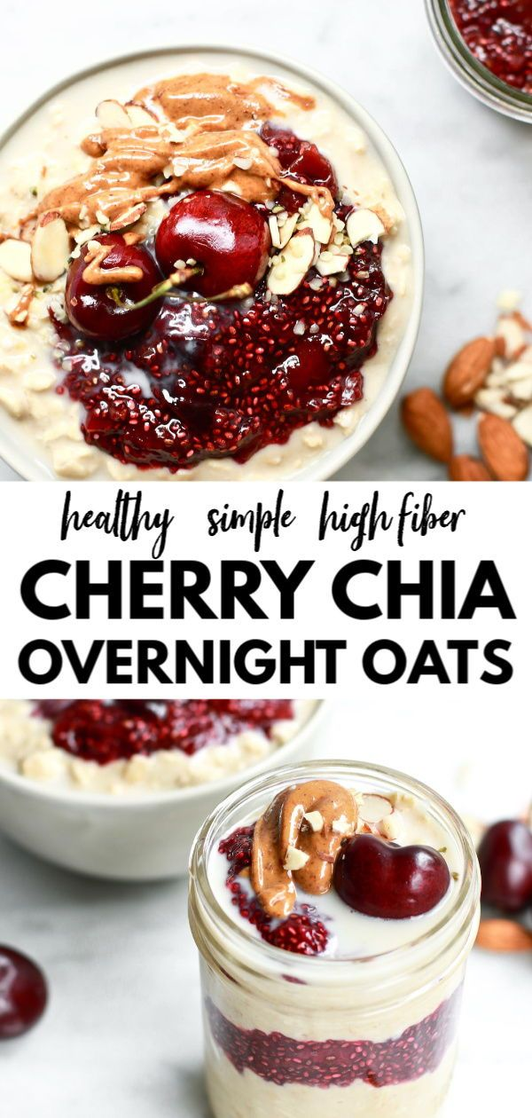 Healthy Overnight Oats with Cherry Chia Seed Jam