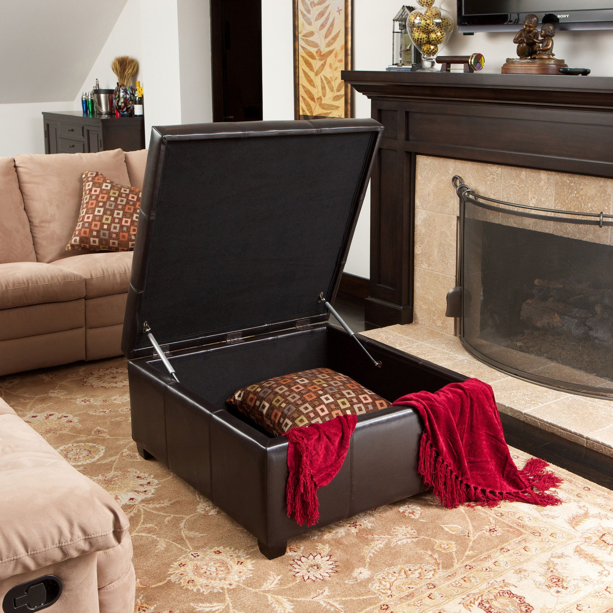 Boston espresso brown tufted leather storage ottoman