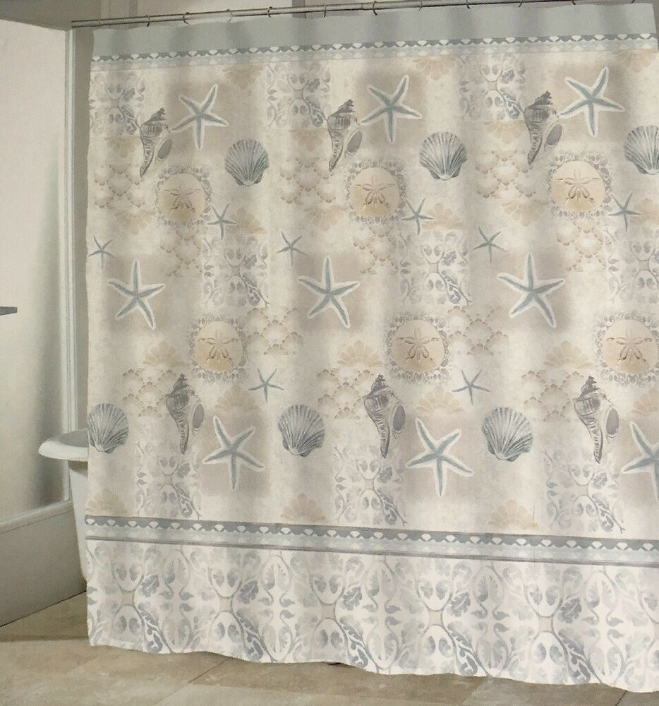 Starfish Shells Fabric Shower Curtain Coastal Nautical Beach