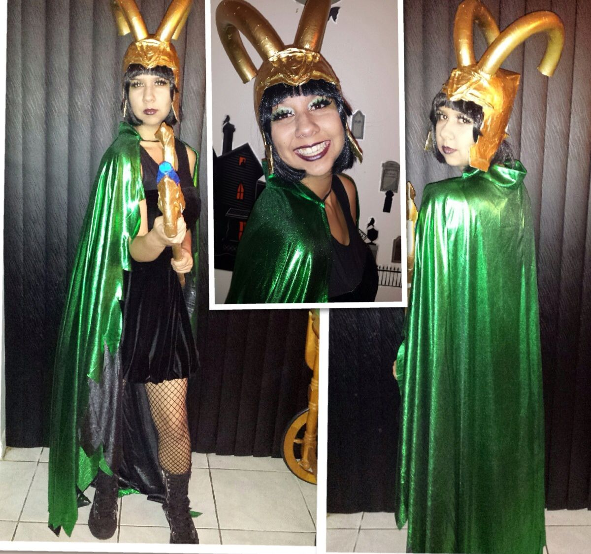 my completely homemade girl loki costume that was under 10 dollars