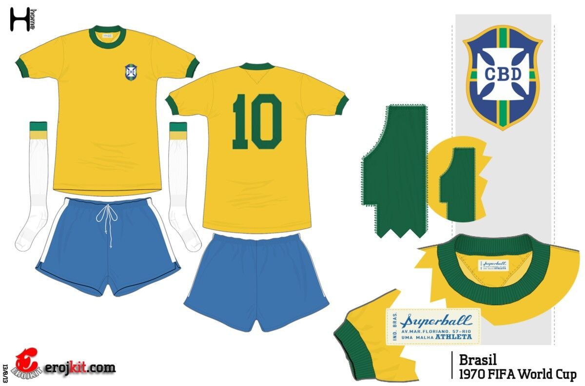 6793f98c87 Brazil home kit for the 1970 World Cup Finals.