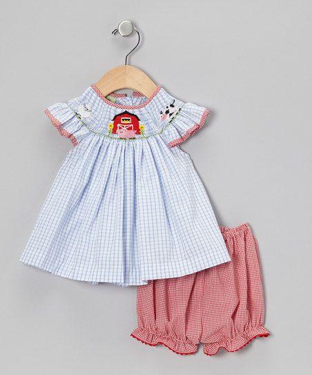 17eba985dbe0 Blue Gingham Smocked Farm Dress   Bloomers - Infant