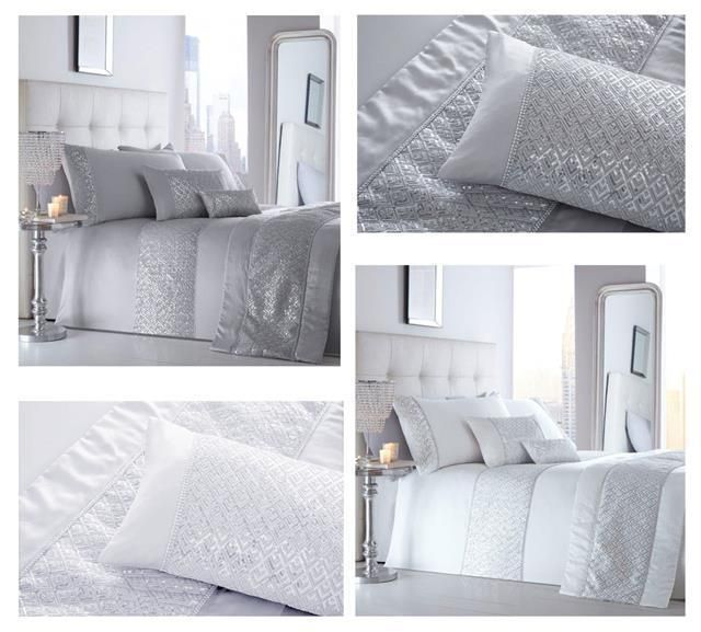Luxury duvet cover sets white or grey diamante silver sequin bedding /& curtains