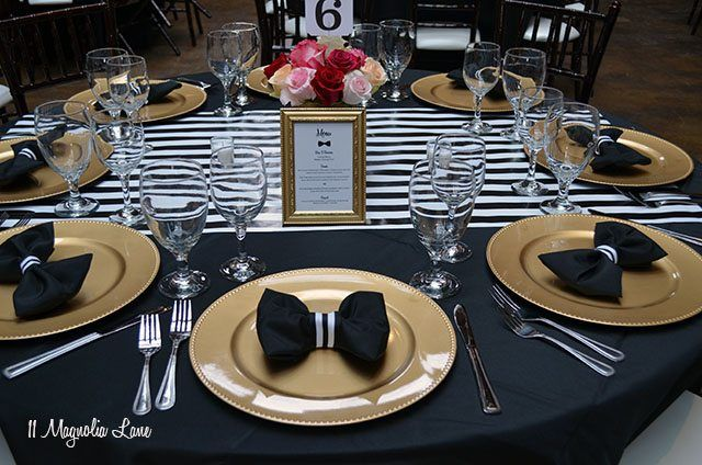 Black and White Bowtie Ball. Gold Table SettingsPlace ... & Black and White Bowtie Ball | White table settings