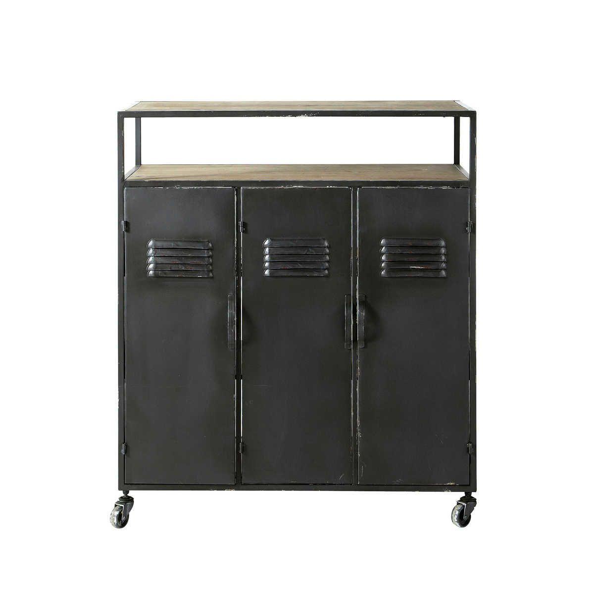 Mueble bar industrial con ruedas de metal gris antracita | Mueble ...