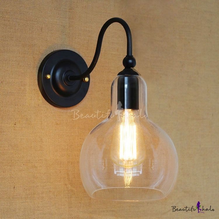 Industrial Single Light Led Wall Sconce In Clear Glass Ball Shade Black Wall Lights Wall Lights Black Wall Sconce