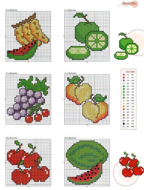 legumes e frutas em ponto cruz - Pesquisa Google