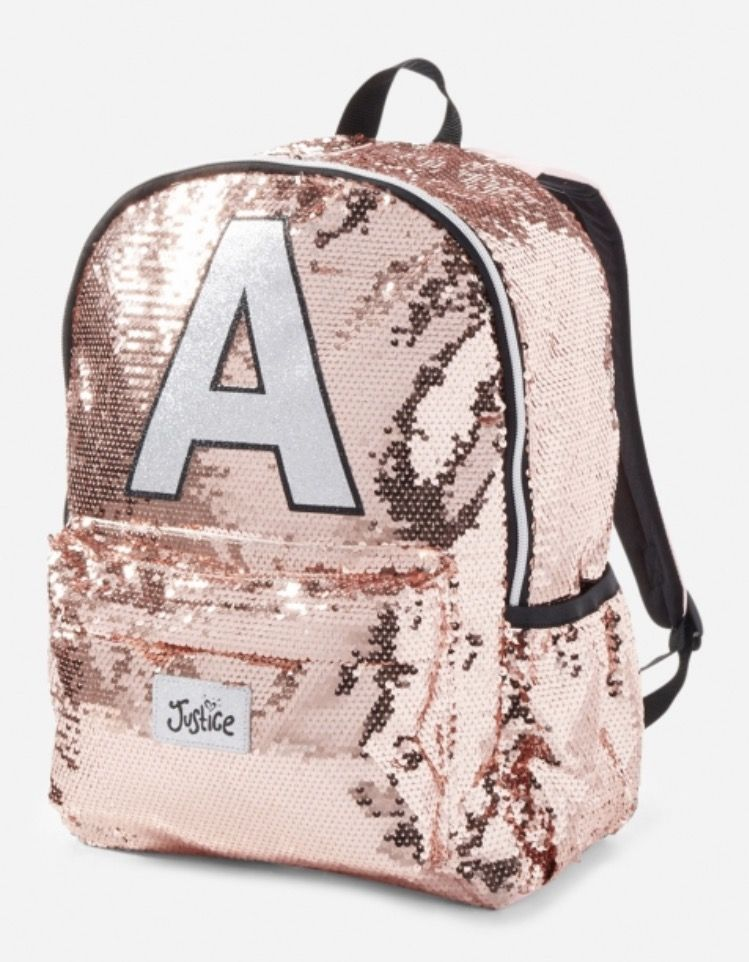 Girls JUSTICE Backpack Bookbag Initial B Black Pink SPLATTER 2 Styles in 1 New