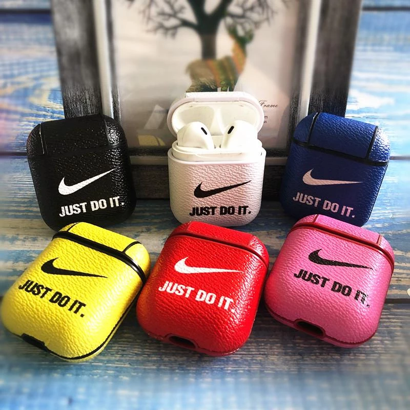 Nike Style Candy Color Leather Protective Case Airpods 1 2