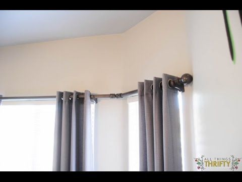 How To Install Curtain Rod On Corner Windows Lowes Youtube Bay Window Curtains Bay Window Curtain Rod Diy Bay Window Curtains