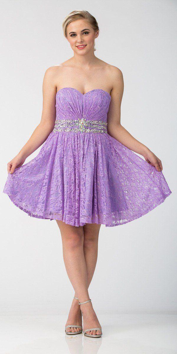 Starbox USA S6153 Strapless Rhinestone Waist Short Prom Dress Lilac