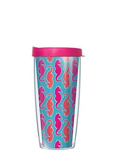 Seahorses Wrap Traveler 16 Oz Tumbler Cup with Pink Lid